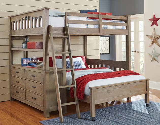 NE Kids Highlands Full Loft Bed with Full Bed - Driftwood