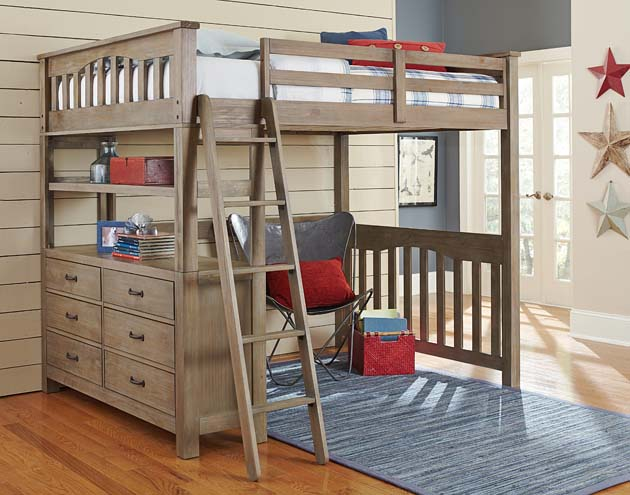 NE Kids Highlands Full Loft Bed - Driftwood