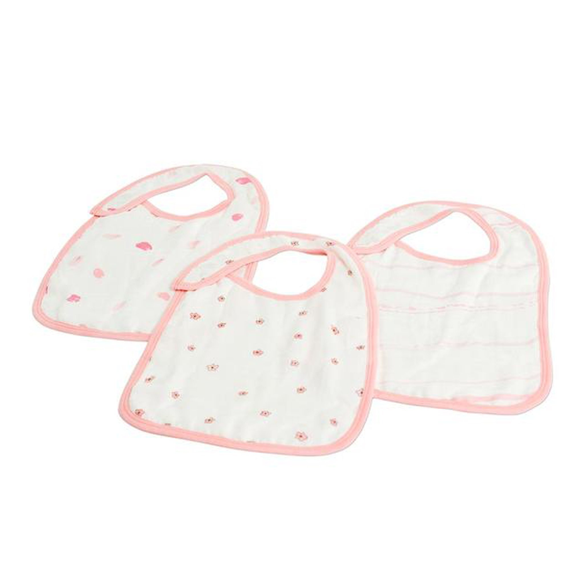 Newcastle Classics Bamboo Snap Bib 3 Pack - Pink Flower