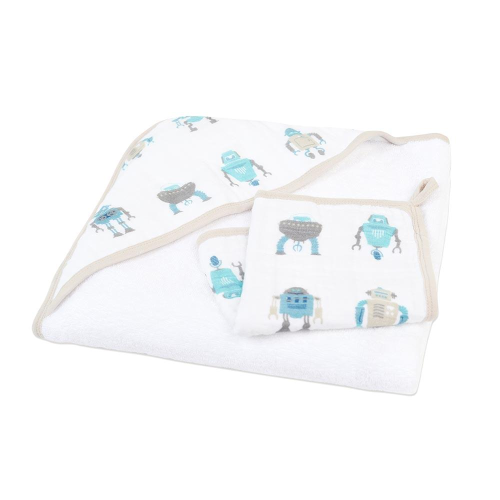 Newcastle Classics Hooded Towel & Washcloth Set - Robot