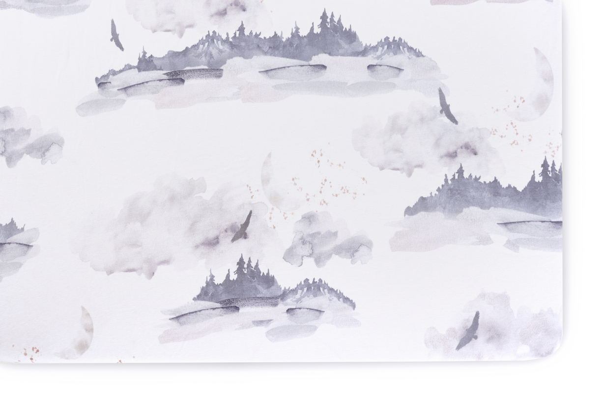 Oilo Studio Misty Mountain Jersey Crib Sheet