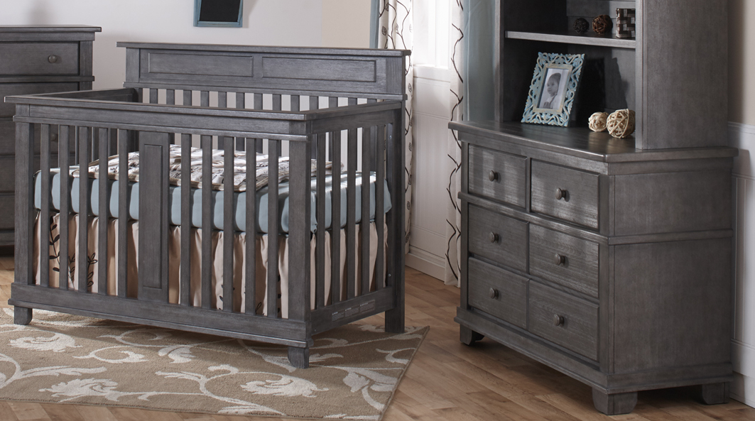 Pali Torino Convertible Crib and Dresser in Distressed Granite