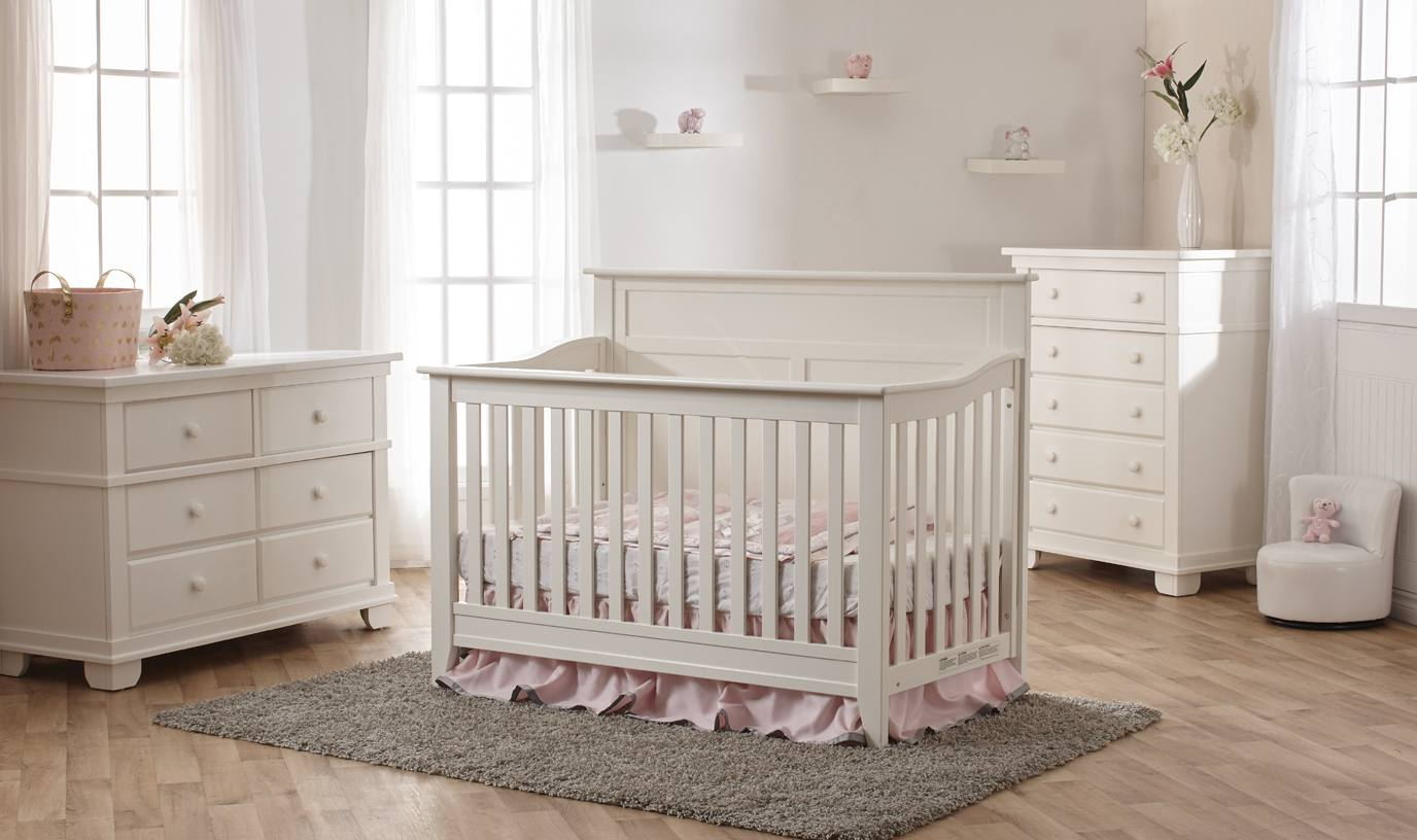 Pali Napoli Flat Top Crib and Dressers in White