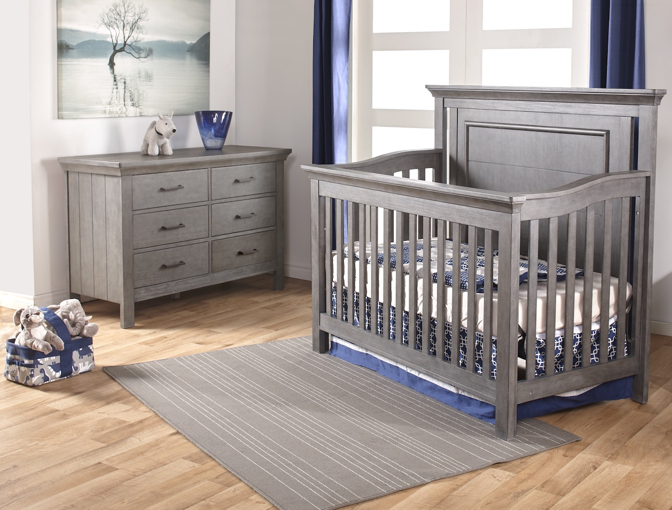 Pali Design Como Flat Top Forever Crib + Dresser in Granite