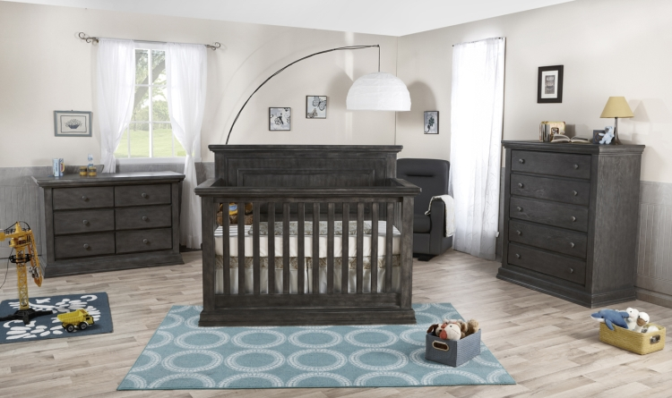 Pali Modena Crib, Dresser and Chest Package, Distressed Granite