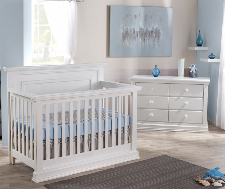 Pali Modena Crib and Double Dresser, Vintage White