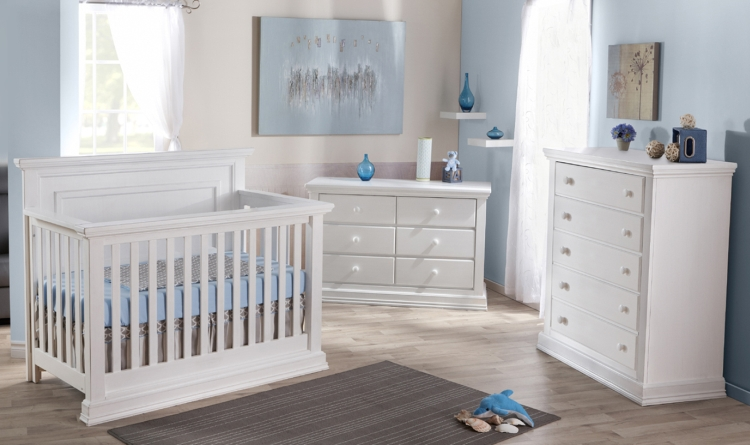 Pali Modena Crib, Dresser and Chest Package, Vintage White