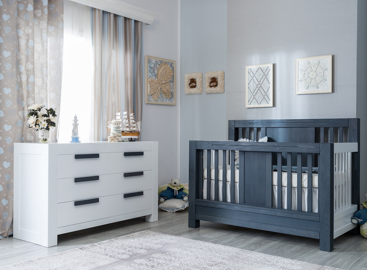 Romina Ventianni Crib and Double Dresser - Storm + Solid White