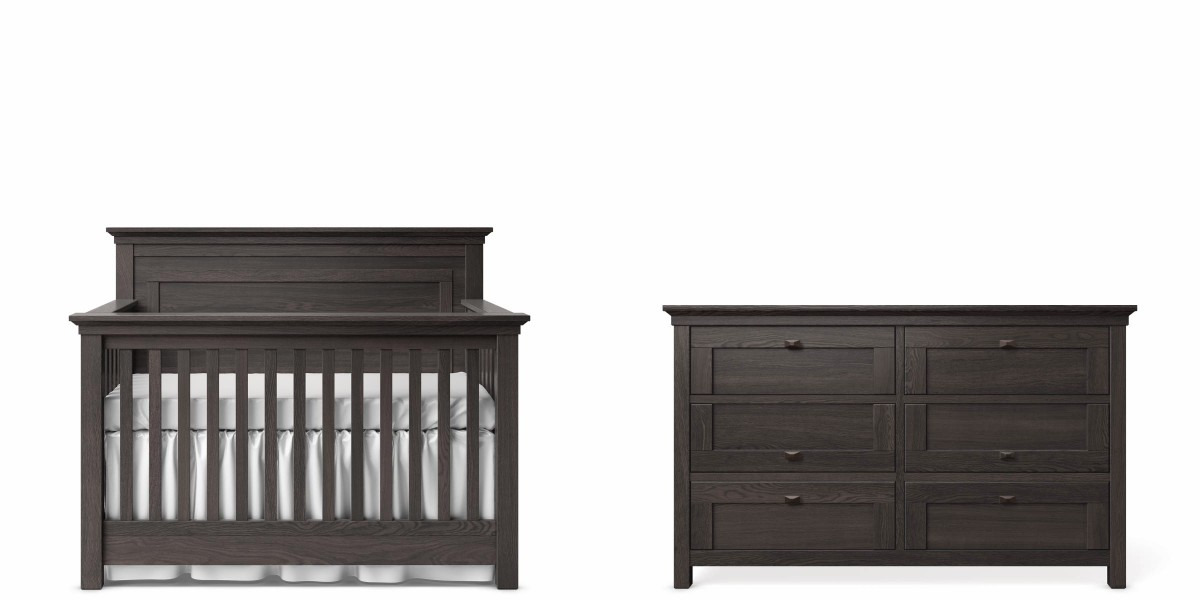 Romina Karisma Panel Crib and Double Dresser - Oil Grey