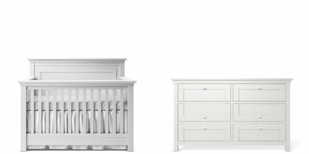 Romina Karisma Panel Crib and Double Dresser - Solid White