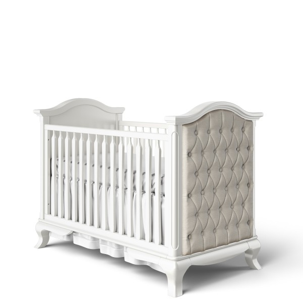 Romina Cleopatra Classic Crib with Beige Linen Tufting