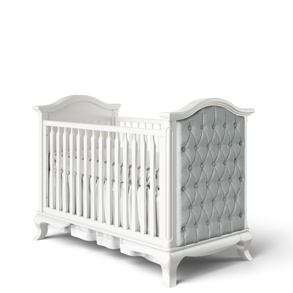 Romina Cleopatra Classic Crib with Grey Linen Tufting