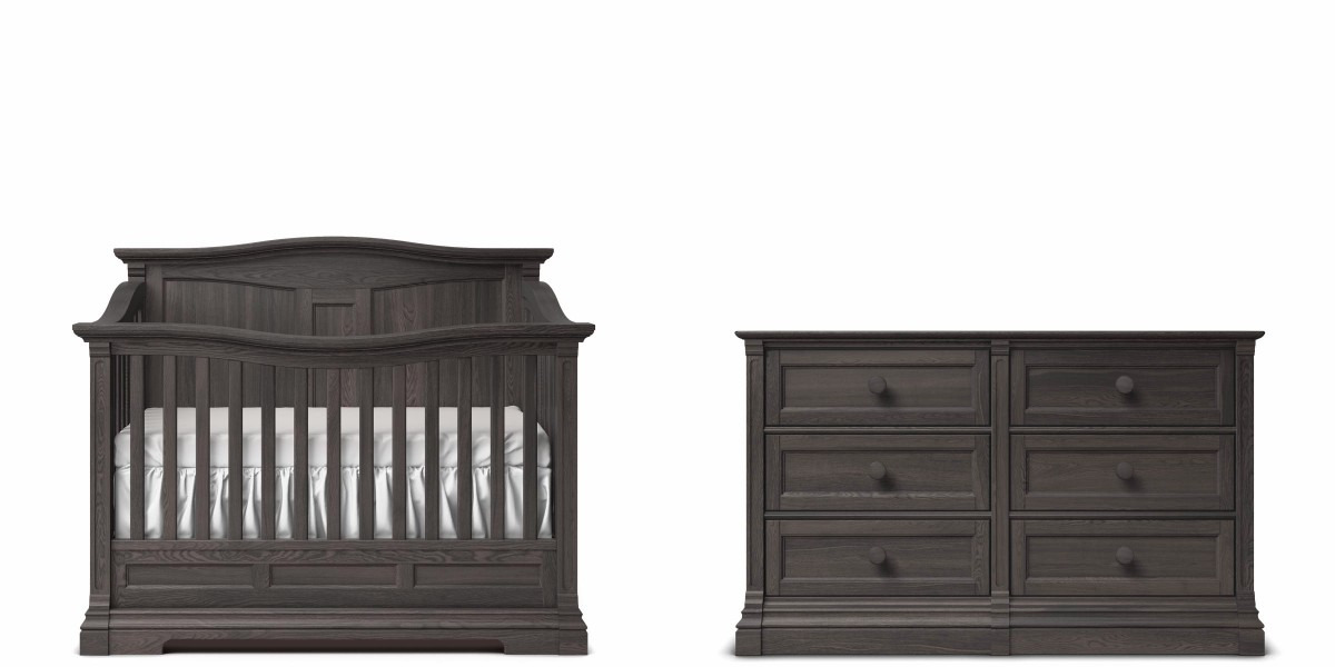 Romina Imperio Panel Crib and Double Dresser - Oil Grey