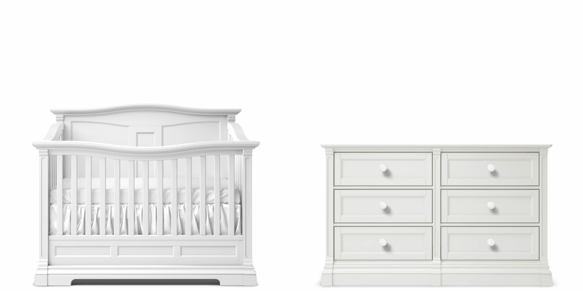 Romina Imperio Panel Crib and Double Dresser - Solid White