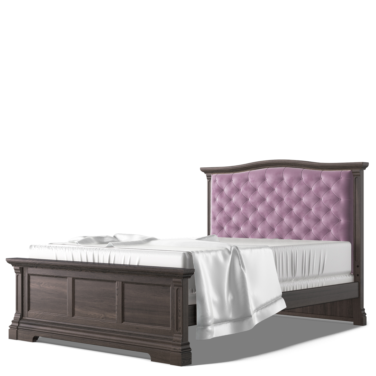 Romina Imperio Full Bed with Pink Velvet Tufted Headboard