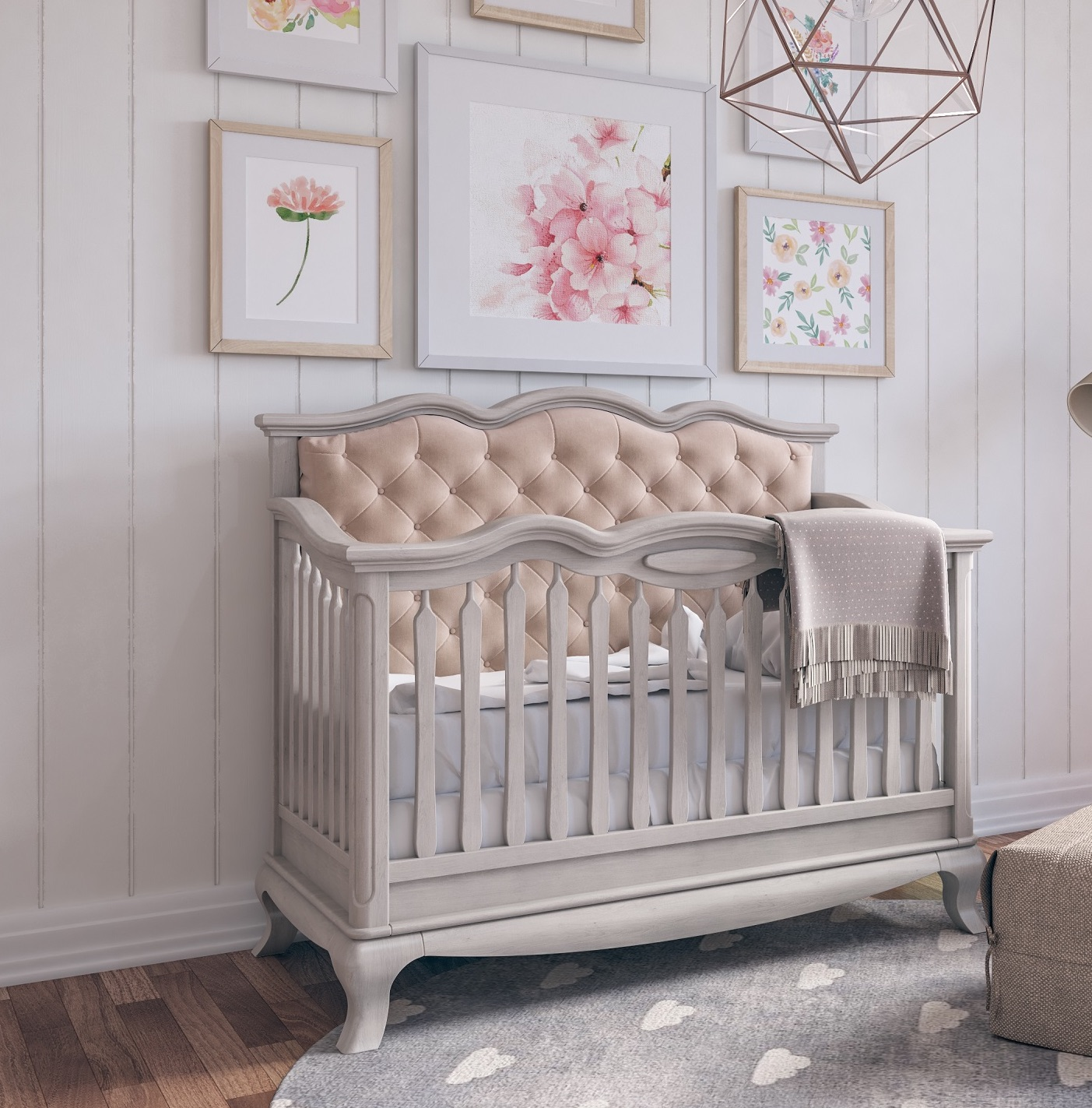 Romina Furniture Cleopatra Tufted Crib + Double - Stardust