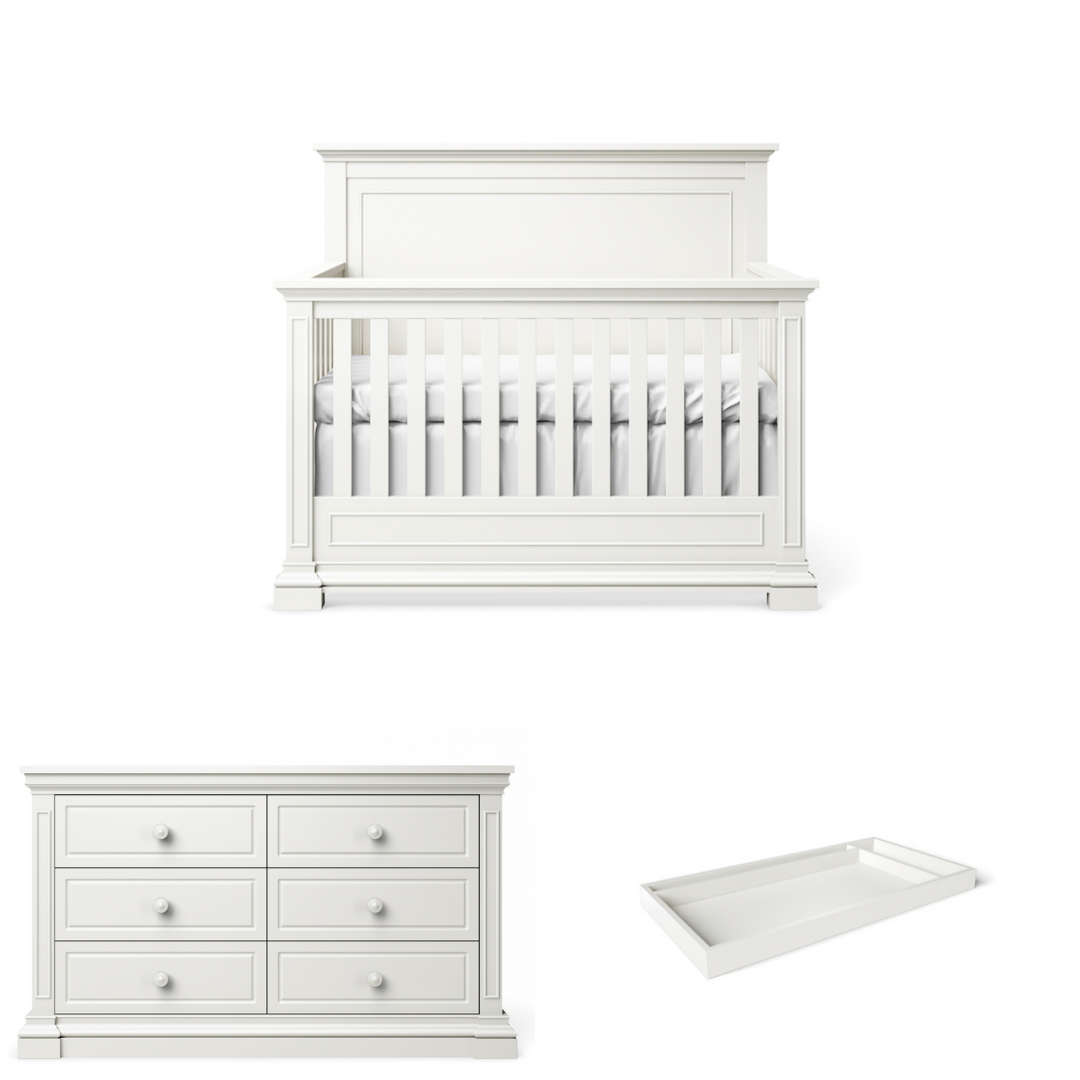 Silva Furniture Jackson Crib + Dresser + Changer - White