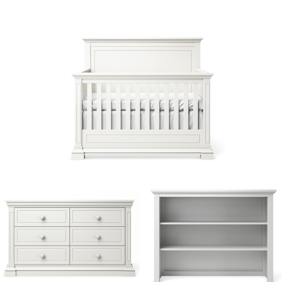 Silva Furniture Jackson Crib + Dresser + Hutch - White