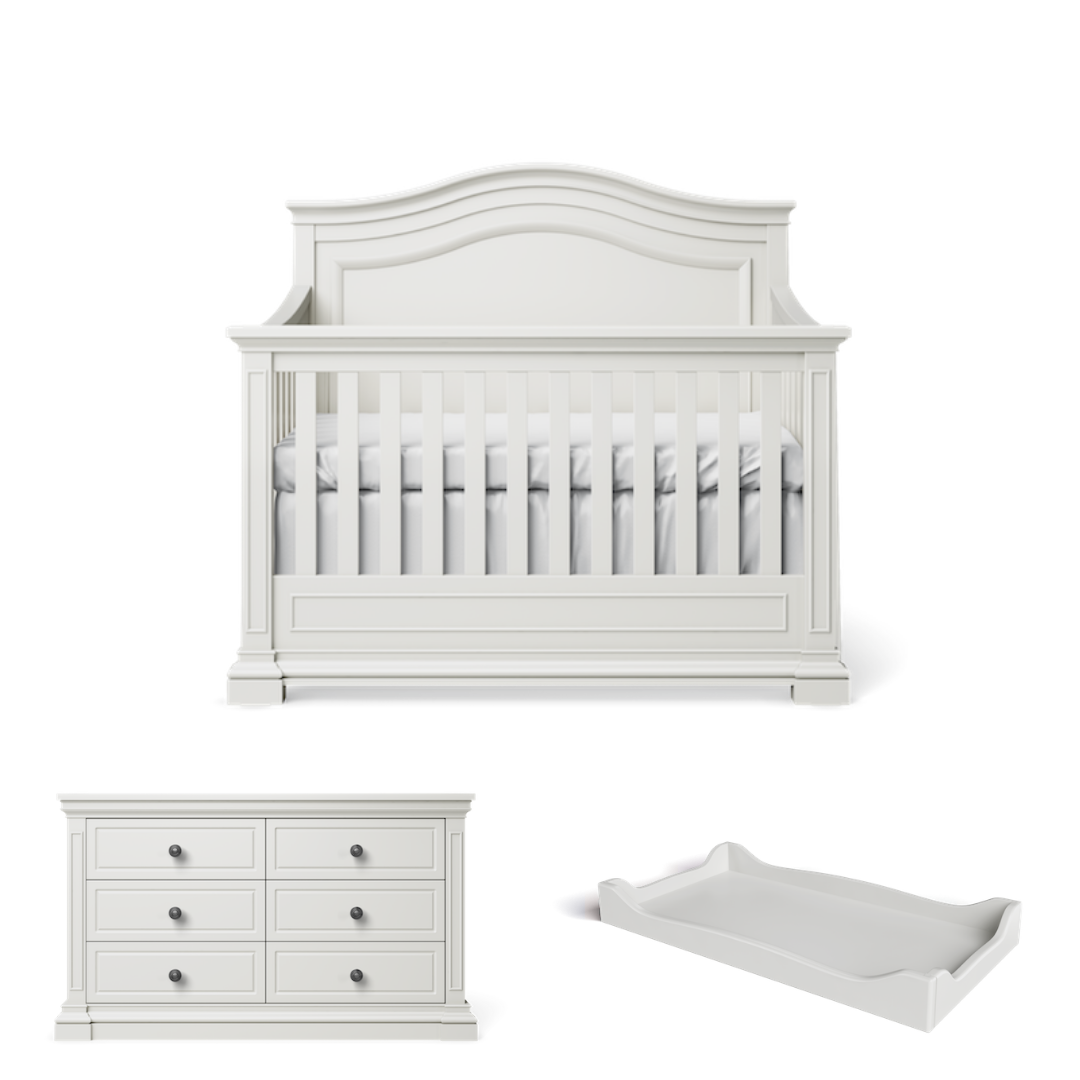 Silva Furniture Jordan Crib + Dresser + Changer - Dove White