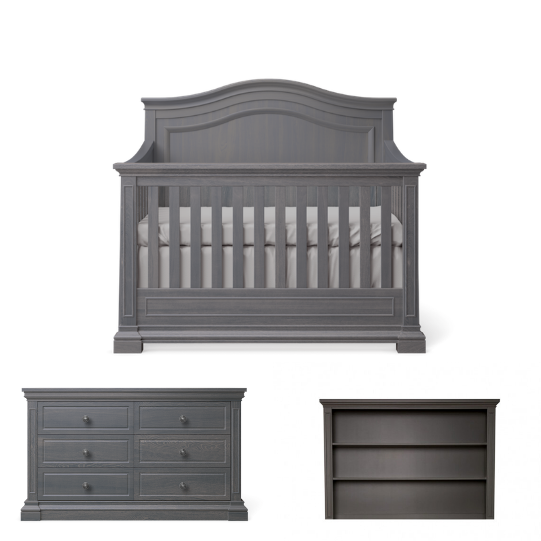 Silva Furniture Jordan Crib + Dresser + Hutch - Oil Grey