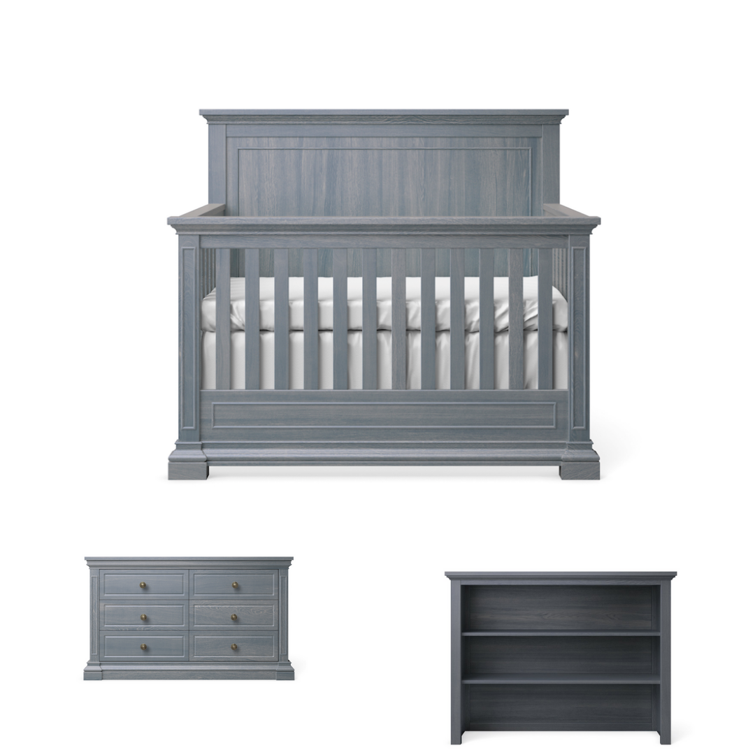 Silva Furniture Jackson Crib + Dresser + Hutch - Storm