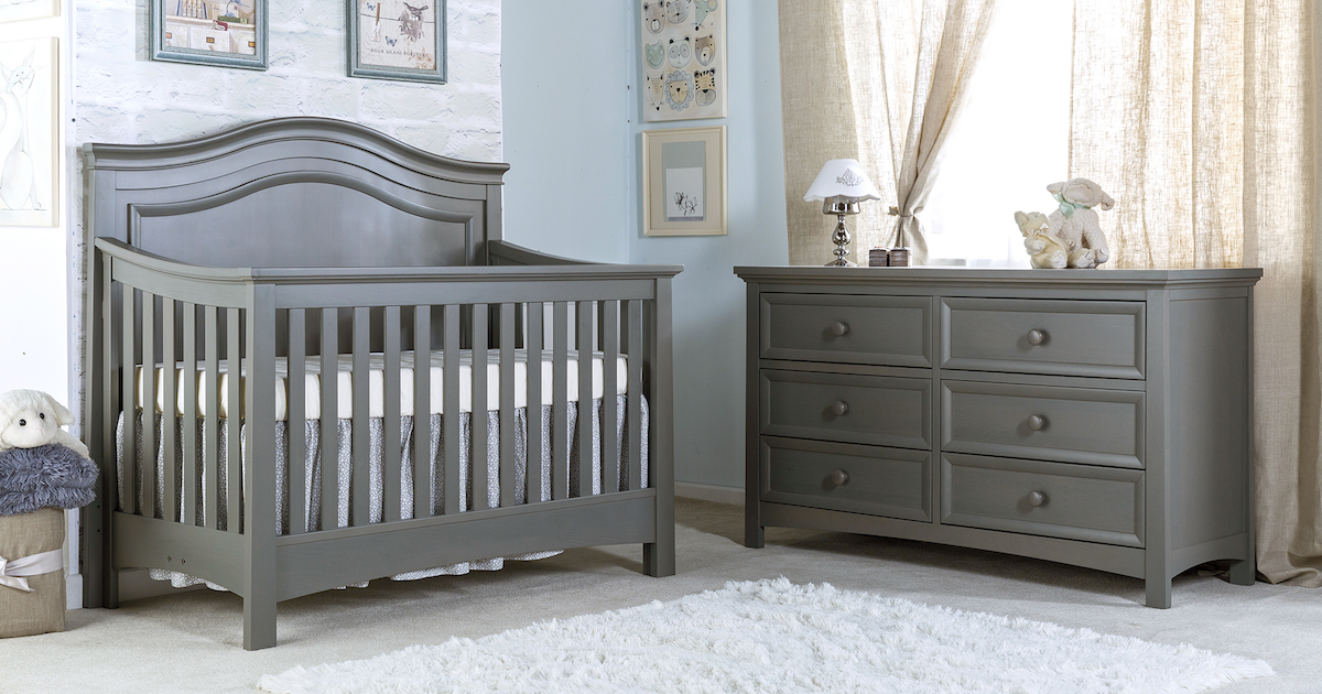 Silva Furniture Serena Crib and Dresser in Flint
