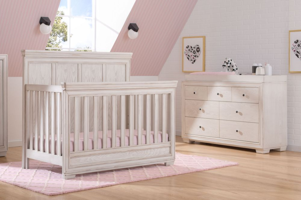 Simmons Kids Ravello 5 Piece Baby Furniture Set - Antique White