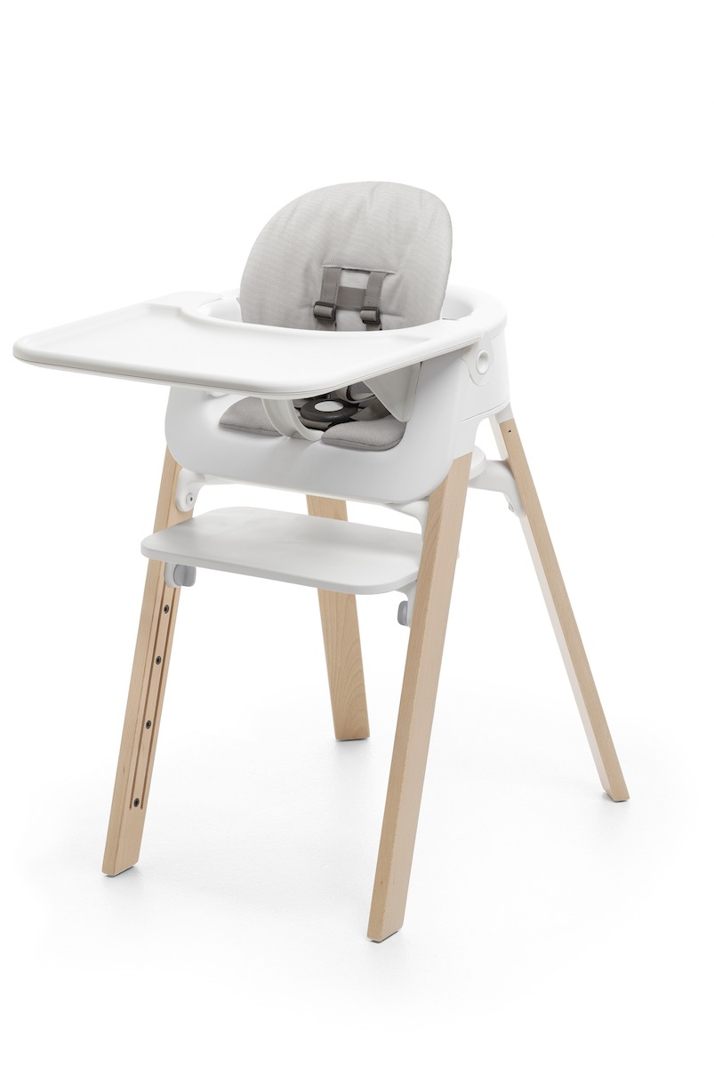 Stokke Steps Complete Highchair - Natural Legs w/ White Seat