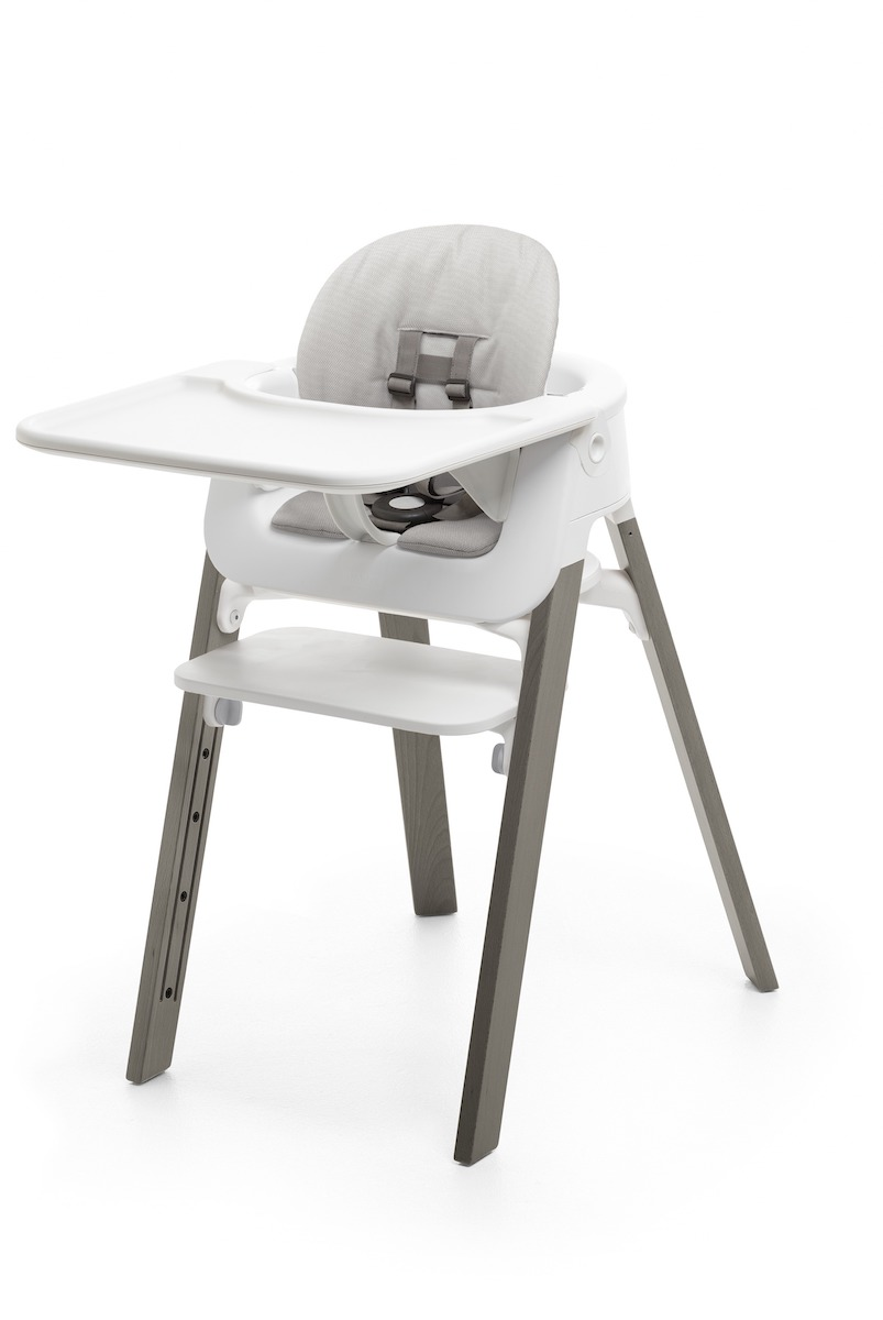 Stokke Steps Complete Highchair - Hazy Grey Legs w/ White Seat
