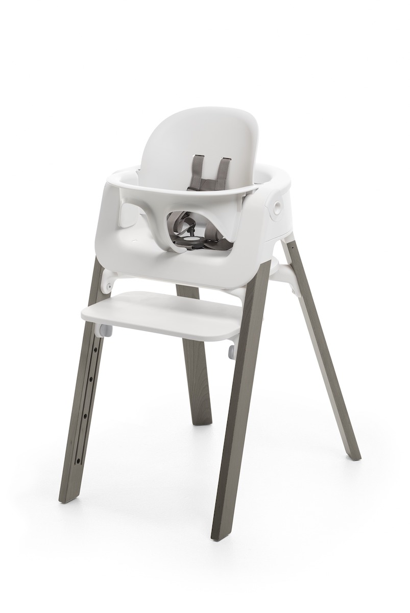 Stokke Steps Highchair - Hazy Grey Legs w/ White Seat