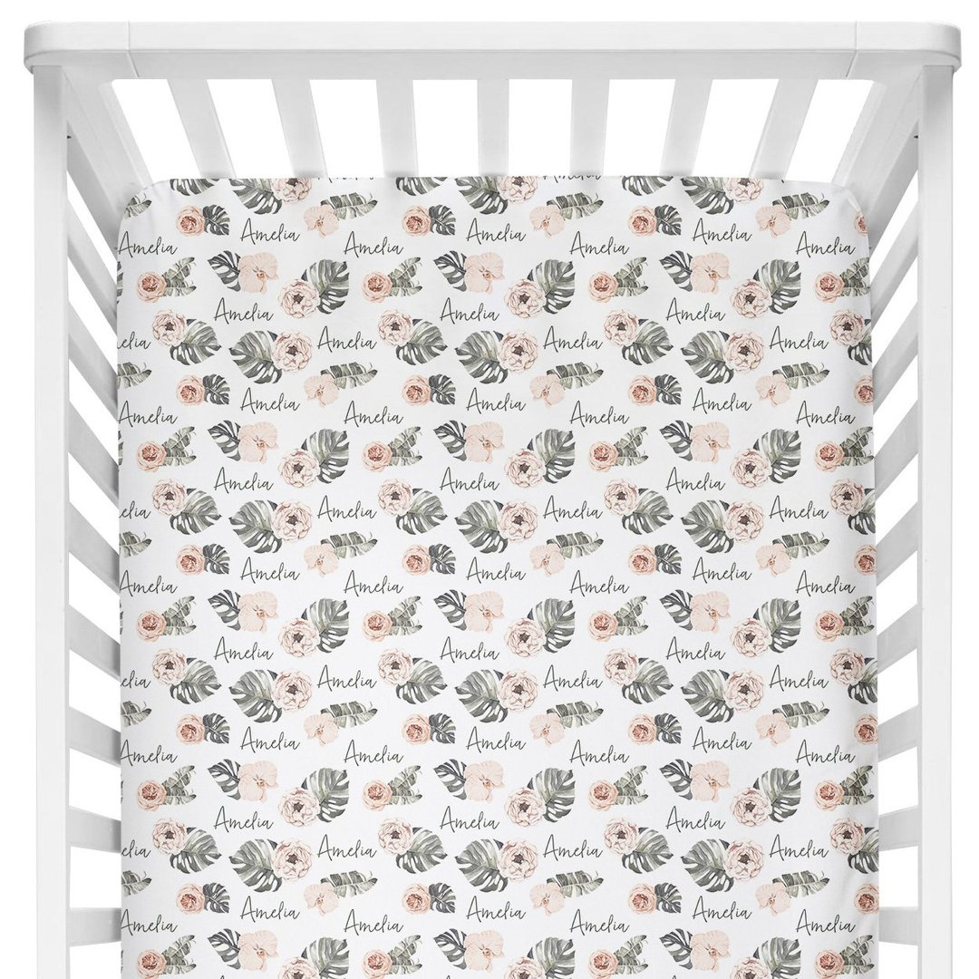 Sugar + Maple Tropical Floral Stretch Jersey Crib Sheet
