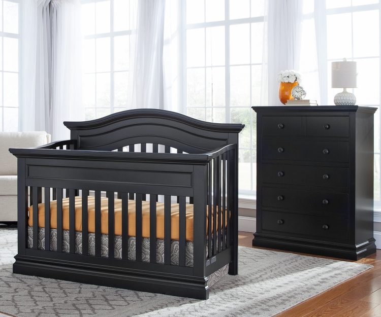 Westwood Design Stone Harbor Convertible Crib and Chest, Black