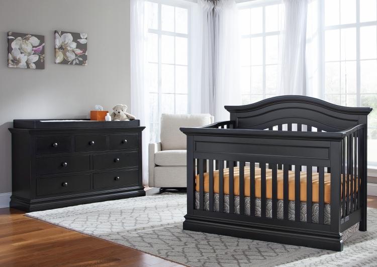 Westwood Design Stone Harbor Convertible Crib and Dresser, Black